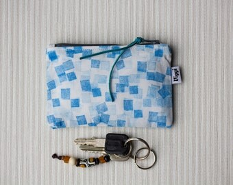 Hand stamped coin purse, blue zipper pouch small, change wallet squares