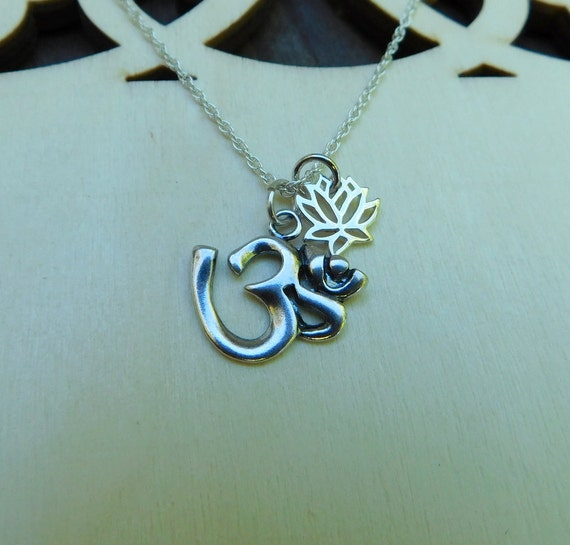 Sterling silver Om and lotus flower necklace, yoga jewelry, religious jewelry, meditation