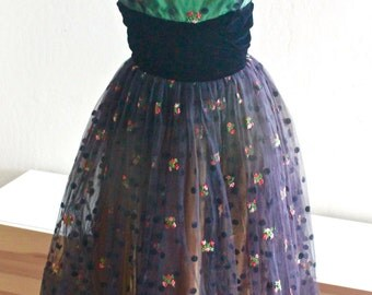 1950's Black Tulle Polka Dot Green and Gold Taffeta Party Prom Dress Small