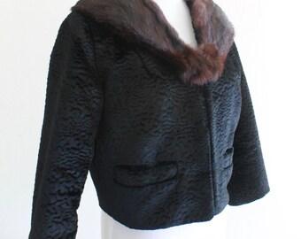 1950's Fur Cropped Black Bolero Jacket Small Lamb with Sable Collar