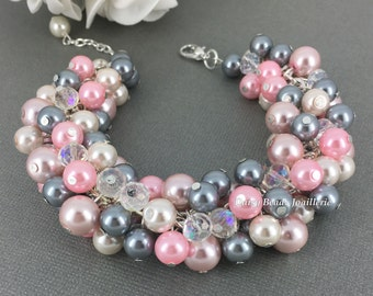 Shades of Pink and Grey Bracelet, Pearl Bracelet, Bridesmaid Gift, Pink and Gray Bracelet, Bridesmaid Bracelet, Chunk Bracelet, Pink Wedding
