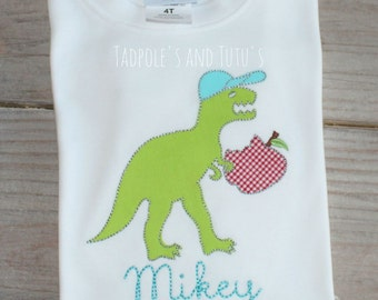 Personalized Dino with Apple Shirt or Bodysuit- Personalized Dino Applique Shirt