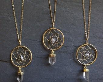 Dream Catcher Necklace // Quartz Necklace // Boho Necklace // Bohemian //  Crystal Necklace // Gold Quartz // Raw Quartz