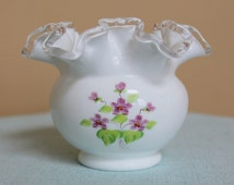 "FENTON ""Violets in the Snow"" Hand Painted Ruffled Crest Rose Bowl VASE- Milk Glass - Artist Signed by Violet H - Vintage Art Purple Flowers"