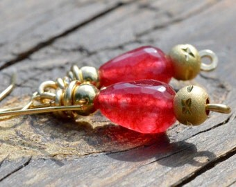 Raspberry Czech Glass Tear Drop and Gold Earrings
