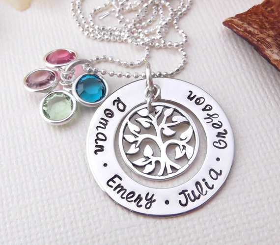Grandma Necklace- Tree Of Life Necklace- Mommy Jewelry- Family Tree Necklace- Hand Stamped Jewelry- Mother's Day Gift- Gift For Grandma