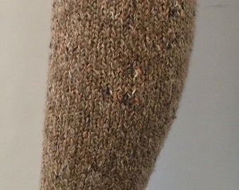 Womens handmade upcycled tan beige boot cuffs socks leggings leg warmers crocheted trim great gift