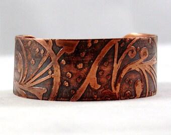 Etched Copper Cuff Bracelet, Copper Patina Bracelet, Etched Metal Bangle Bracelet, Scroll Design Copper Bracelet, Embossed Copper Bracelet