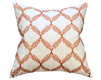 "Orange Lattice Designer Pillow Cover, Embroidered Pillow- Orange and Cream- Trellis Pillow- Accent Pillow- Throw Pillow- Holds 22"" Insert"