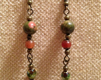 Unakite and Red Aventurine Dangle Earrings