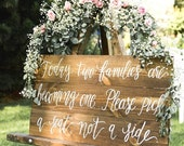 Rustic Wedding Seating Sign, Today Two Families, Pick a Seat Not a Side Sign, Rustic Wedding Decor, Ceremony Decor