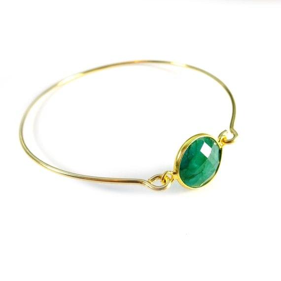 Emerald Bracelet, Green Bangle, Gold Bangle Bracelet, Simple Bangle, 14k Gold Filled, Thin Bangle, Emerald Jewelry, Emerald Bangle