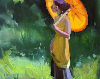 """Original Oil Painting, Impressionism, Small Painting, Figure Painting, Oil on Canvas, Parasol, 11x14"""", Original, American"""