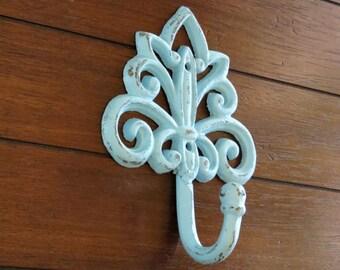 Decorative Wall Hook / Aqua or Pick Color / Cast Iron / Key Hanger / Bathroom Towel Hook / Coat Hat Necklace Hanger / French