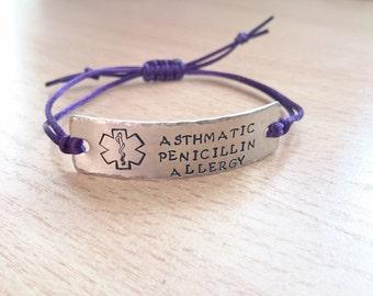 Adult Medical ID bracelet, adjustable medical ID, medical alert, medical ID jewelry, medical jewelry, diabetes bracelet, alert bracelet
