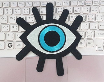 Eye Patch, Eye Iron on Patch, Eye Applique Embroidered Iron on Patch size 14 x 15.3 cm.