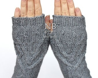 Hand Knitted Fingerless Gloves,  Grey, Tree, Clothing And Accessories, Gloves & Mittens, READY TO SHIP