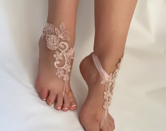 EXPRESS SHIPPING! Powder pink Lace Barefoot Sandals, Beach wedding Barefoot Sandals Bridal accessory Foot jewelry Wedding shoes