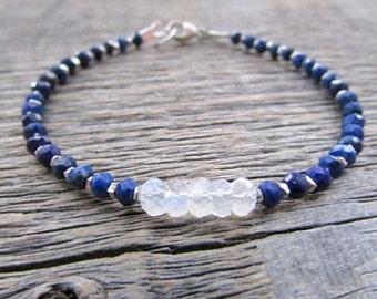 Rainbow Moonstone Bracelet, Lapis Bracelet, Gemstone Bracelet, Bead Bracelet, Boho Bracelet, Stack Bracelet, June Birthstone Bracelet