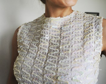 1960's White Sequin Top