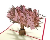 Cherry Blossom Tree Popup Greeting Card - Pink Flowers Pop-Up Paper Art - Birthday 3D Card