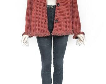 70s Vintage Red Crimson Hippie Sweater for Women