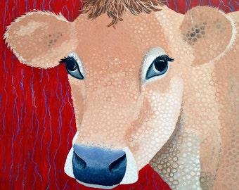 "Cow Art Original Acrylic Painting Red Beige Blue ""16 x 16"""