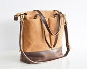 Tan waxed canvas and leather diaper bag nappy bag tote bag