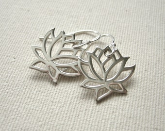 Lotus Flower Earrings Sterling Silver - Nature Jewelry