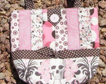 Brown and Pink Skulls Patchwork Purse