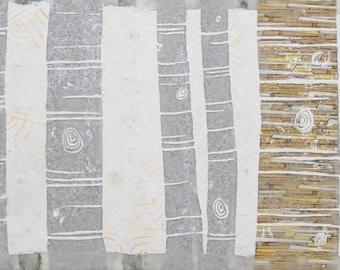 Anthro Style, Bohemian, Shabby Chic Birch Trees: Mixed Media Encaustic Art