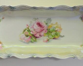 Celery Dish Relish Tray Lusterware Roses Silesia