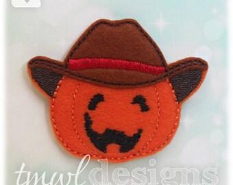 "Pumpkin Cowboy Feltie Digital Design File - 1.75"""