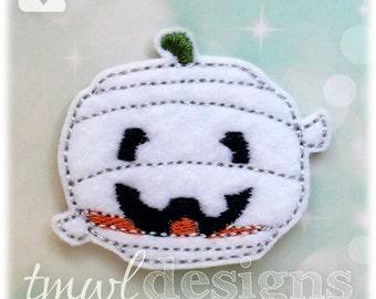 "Pumpkin Mummy Feltie Digital Design File - 1.75"""