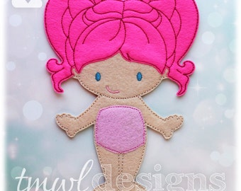 Peony Felt Paper Doll Toy Digital Design File - 5x7