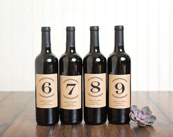 Table Number Wine Bottle Labels \\ Laurel