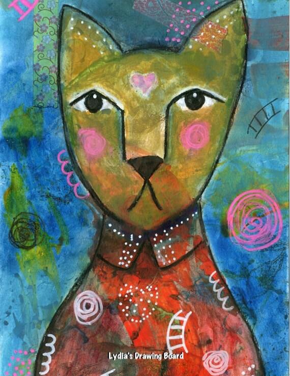 Cat, Cat Art, Cat Art Print, Cat Artwork, Cat Wall Art, Whimsical Art, Mixed Media Art, Mixed Media, Kids Room Decor, Animal Art Print