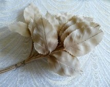 Vintage Millinery Leaves Shaded Silk Beige Tan Brown Ombre NOS from Germany Bunch of 36 for Hats Crafts 7LV0012T