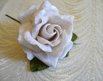 Velvet Rose in Ivory Cream White Millinery Flower for Corsages, Hats, Brooch Creamy White