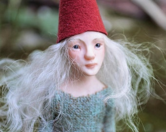 Liris Gnome Girl - Fairy Art Doll - Ooak - Nigrica Art Doll