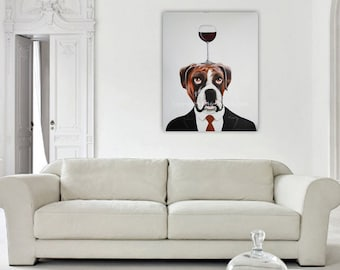 Boxer Painting, Dog Art, Boxer with wineglass, Original Painting on canvas by Coco de Paris