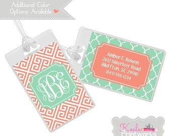 Personalized Luggage Tag | Bag Tag | You Choose the Colors & Personalization Style | Bridesmaid Gift | Monogram | Greek Key and Lattice