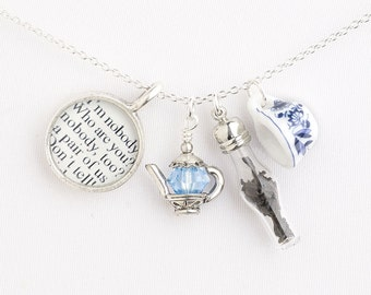 Emily Dickinson Teacup Necklace - Poetry Jewelry -  Literary Gifts - Emily Dickinson Poems