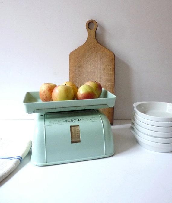 Vintage Kitchen Decor: Vintage Kitchen Scale Mint Green Kitchen Decor