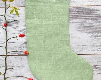 Green Christmas stocking, Burlap family Christmas stockings, rustic Christmas stockings