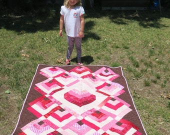 PRICE REDUCED - Handmade Pink and Brown Heart Quilt - Wall Hanging Heart Quilt