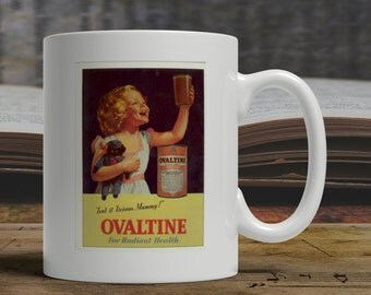 Ovaltine mug, vintage advert mug, retro advert mug, ovaltine coffee mug, ovaltine gift, bygone years mug, bygone years gift  E1451
