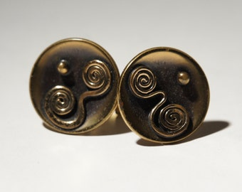 Hogan Bolas Cufflinks - Spiral Tribal Abstract - Brutalist Modernist - American Modernist - Signed