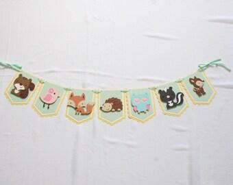 Pastel Woodland Animal Garland - Baby Shower Garland - Birthday Garland - Party Decor - Nursery Decor