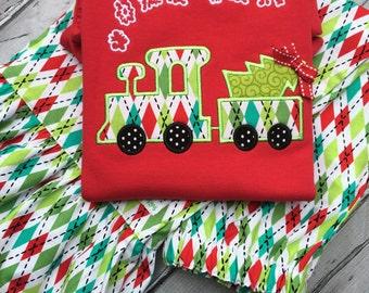 Argyle Ruffle Pants, Long Sleeve Red Shirt , Train With Puff Name, Christmas Tree Train.